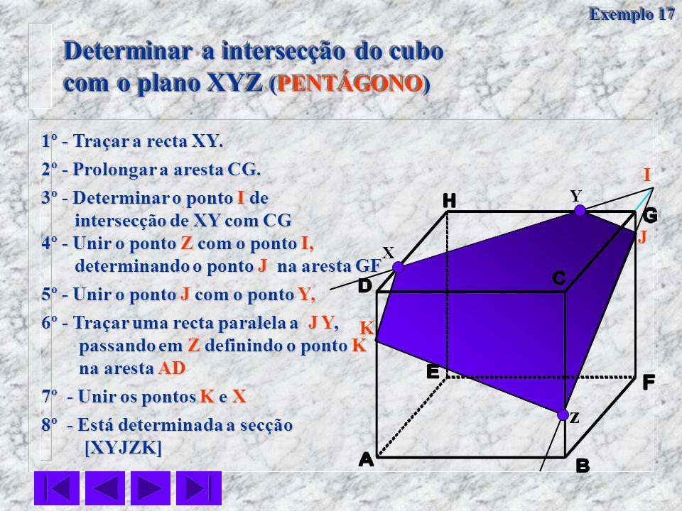 X Y z 1º - Traçar a recta XY. 2º - Prolongar a aresta CG. 4º - Unir o ponto Z com o ponto I, determinando o ponto J na aresta GF determinando o ponto