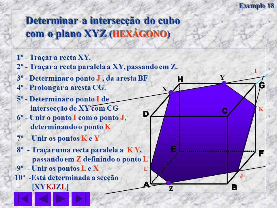 Determinar a intersecção do cubo com o plano XYZ (HEXÁGONO) Determinar a intersecção do cubo com o plano XYZ (HEXÁGONO) X Y z 1º - Traçar a recta XY.