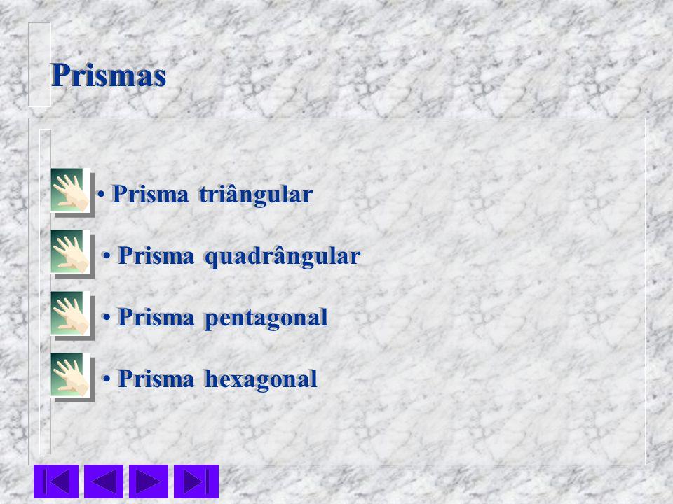 Prismas Prisma triângular Prisma pentagonal Prisma quadrângular Prisma hexagonal