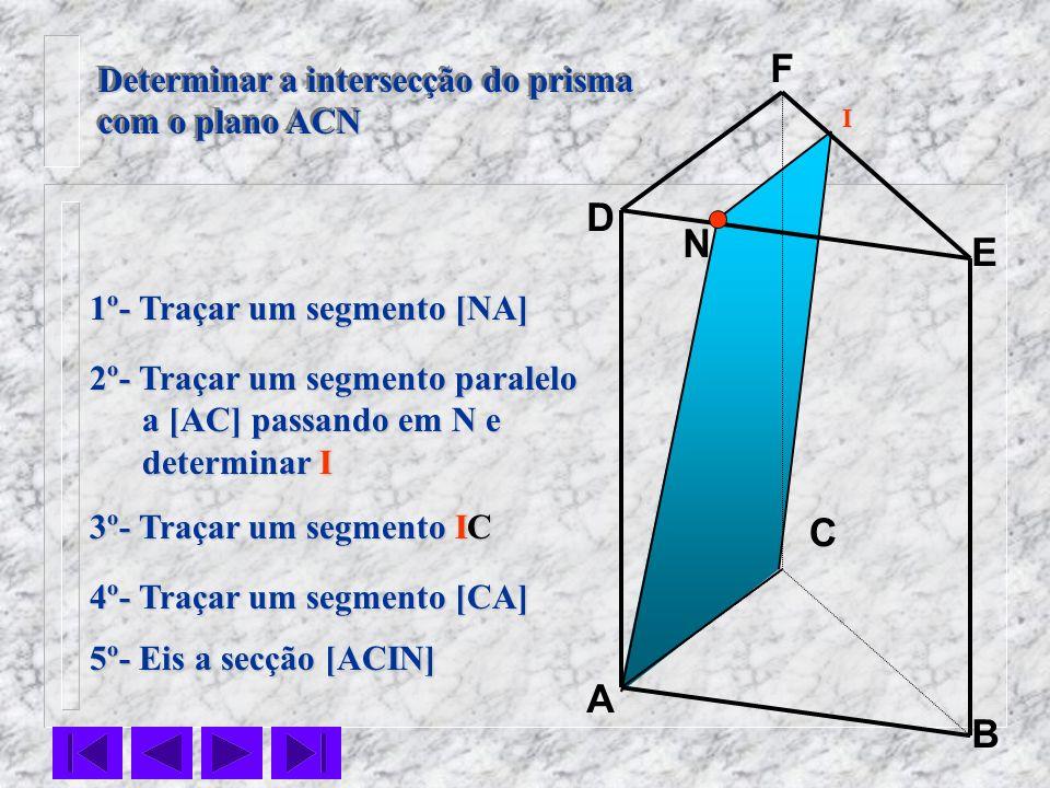 C N B F E D A 1º- Traçar um segmento [NA] Determinar a intersecção do prisma com o plano ACN Determinar a intersecção do prisma com o plano ACN 2º- Tr