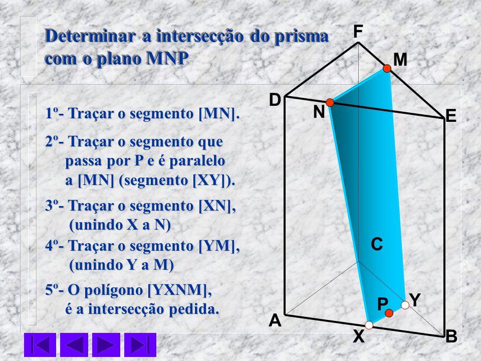 P C N M B F E D A X Y 1º- Traçar o segmento [MN]. 2º- Traçar o segmento que passa por P e é paralelo passa por P e é paralelo a [MN] (segmento [XY]).