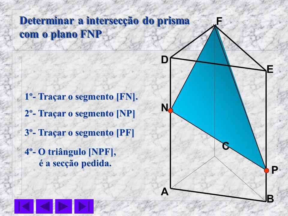 P C B F E D A 1º- Traçar o segmento [FN]. 2º- Traçar o segmento [NP] Determinar a intersecção do prisma com o plano FNP Determinar a intersecção do pr
