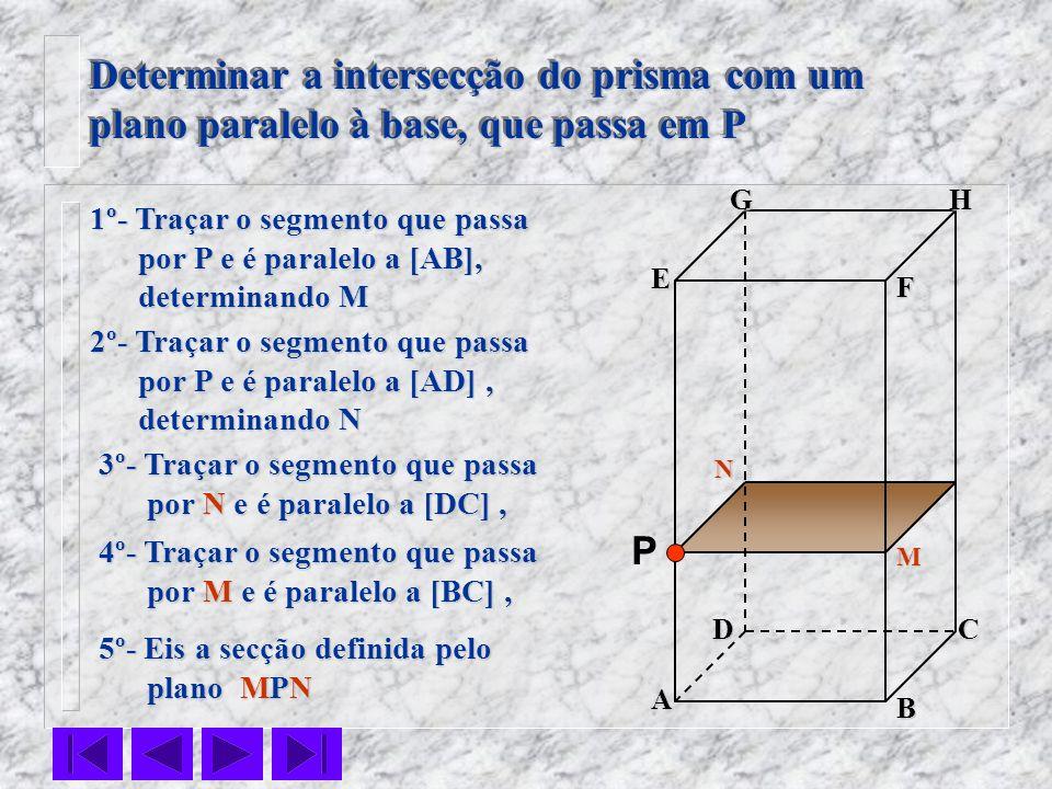 F E DC B AHG Determinar a intersecção do prisma com um plano paralelo à base, que passa em P Determinar a intersecção do prisma com um plano paralelo