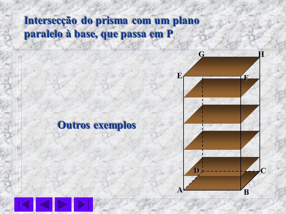 F E DC B AHG Intersecção do prisma com um plano paralelo à base, que passa em P Intersecção do prisma com um plano paralelo à base, que passa em P Out