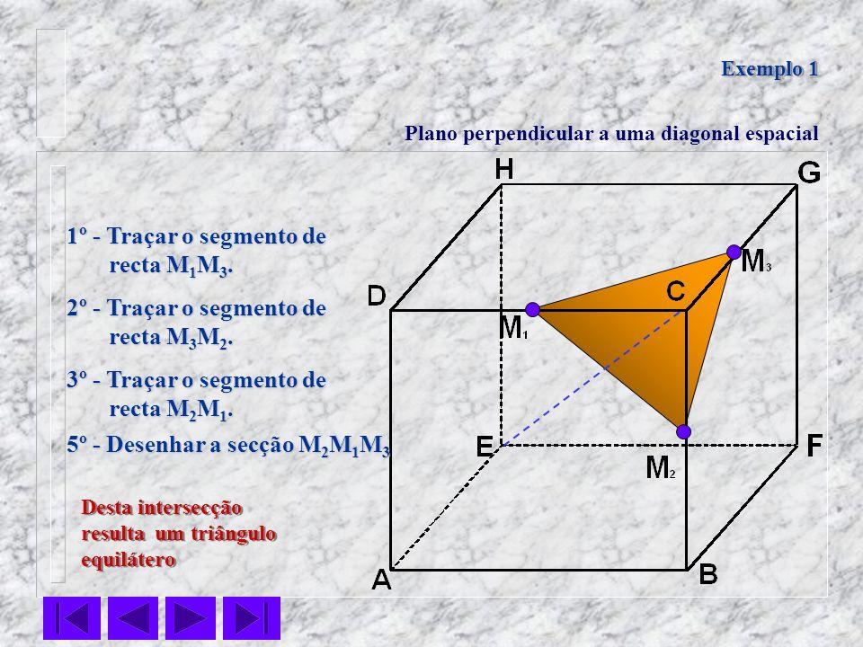 Desta intersecção resulta um triângulo equilátero Desta intersecção resulta um triângulo equilátero Exemplo 1 Plano perpendicular a uma diagonal espac