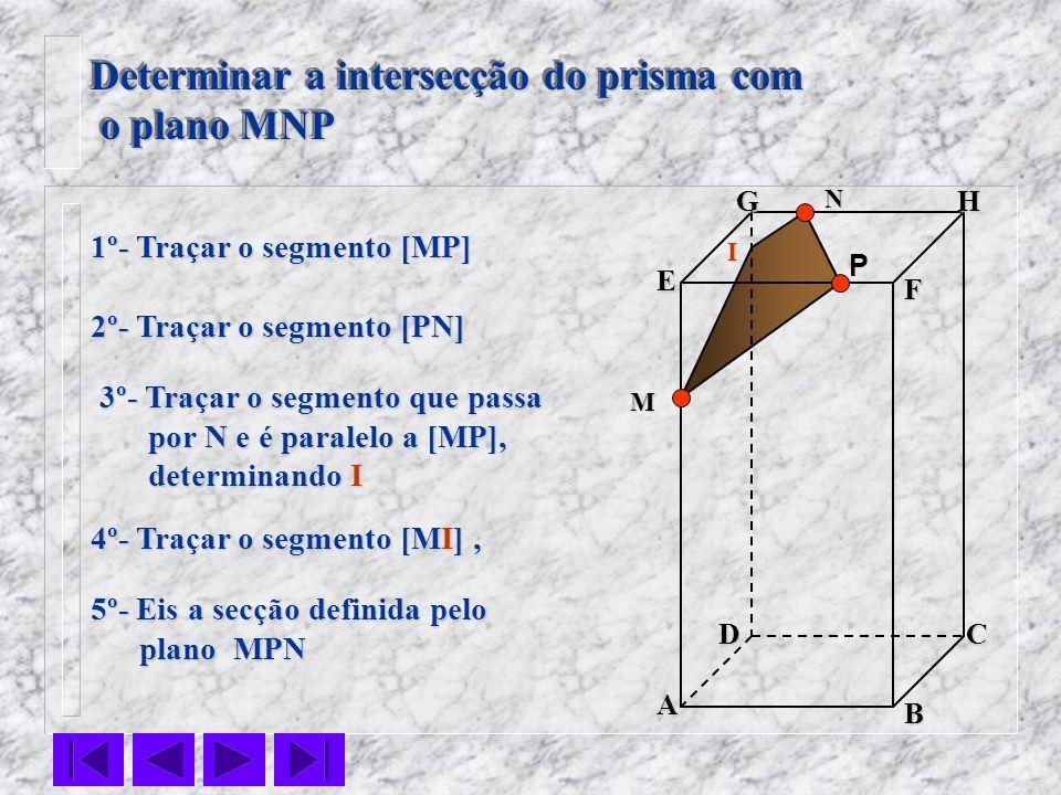 F E DC B AHG Determinar a intersecção do prisma com o plano MNP o plano MNP Determinar a intersecção do prisma com o plano MNP o plano MNP P 1º- Traça