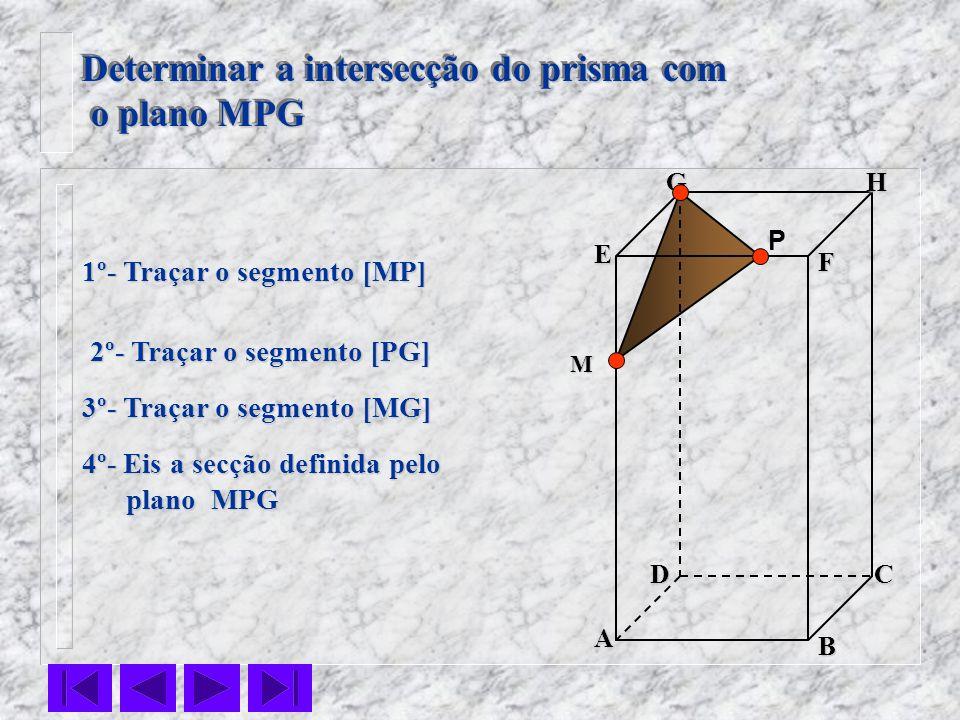 F E DC B AHG Determinar a intersecção do prisma com o plano MPG o plano MPG Determinar a intersecção do prisma com o plano MPG o plano MPG P 1º- Traça