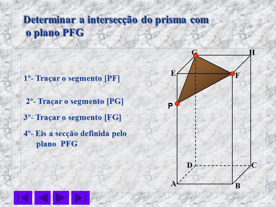 F E DC B AHG Determinar a intersecção do prisma com o plano PFG o plano PFG Determinar a intersecção do prisma com o plano PFG o plano PFG P 1º- Traça