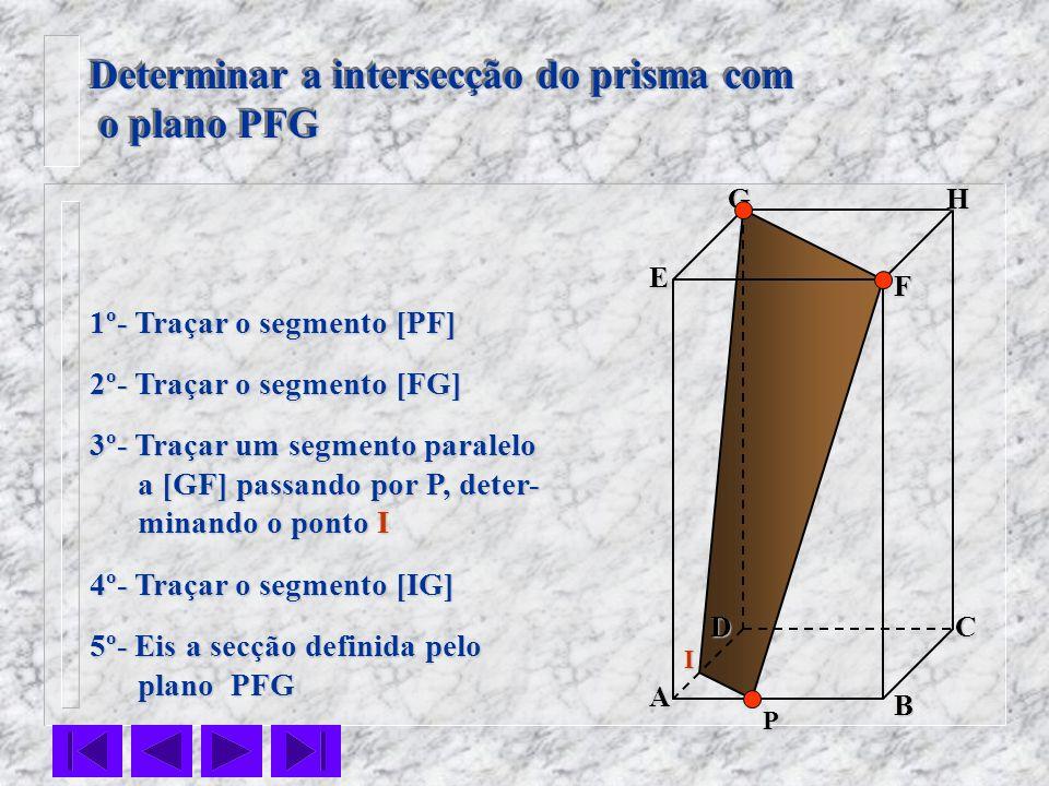 F E DC B AHG Determinar a intersecção do prisma com o plano PFG o plano PFG Determinar a intersecção do prisma com o plano PFG o plano PFG 1º- Traçar