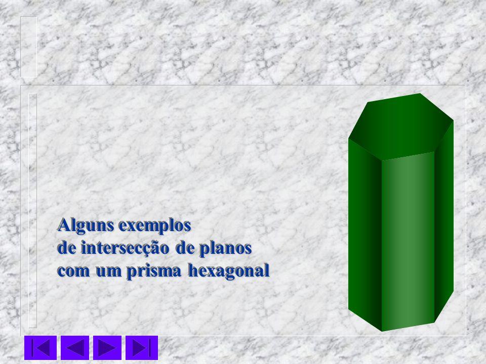Alguns exemplos de intersecção de planos com um prisma hexagonal Alguns exemplos de intersecção de planos com um prisma hexagonal