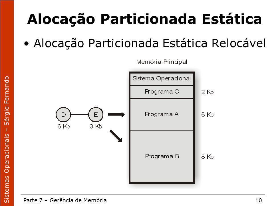 Sistemas Operacionais – Sérgio Fernando Parte 7 – Gerência de Memória10 Alocação Particionada Estática Alocação Particionada Estática Relocável