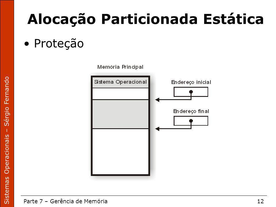 Sistemas Operacionais – Sérgio Fernando Parte 7 – Gerência de Memória12 Alocação Particionada Estática Proteção