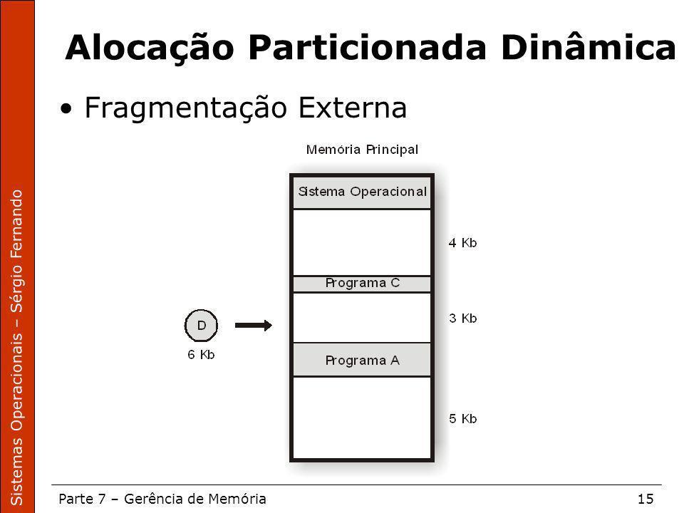 Sistemas Operacionais – Sérgio Fernando Parte 7 – Gerência de Memória15 Alocação Particionada Dinâmica Fragmentação Externa