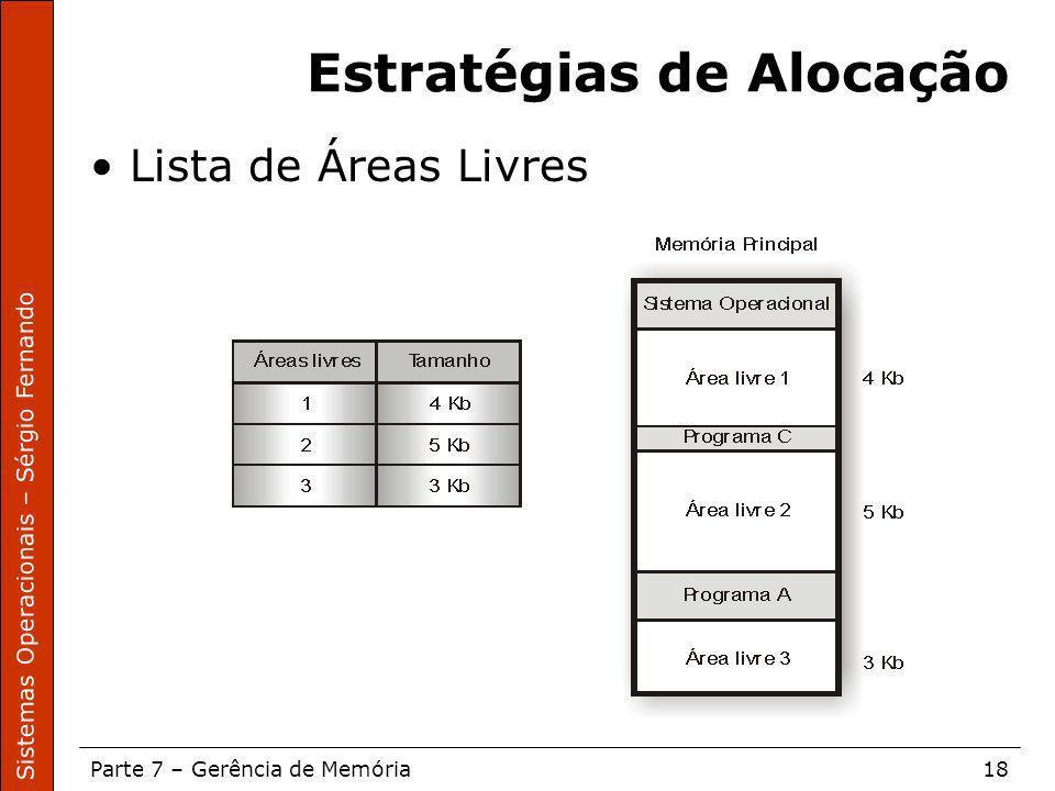 Sistemas Operacionais – Sérgio Fernando Parte 7 – Gerência de Memória18 Estratégias de Alocação Lista de Áreas Livres