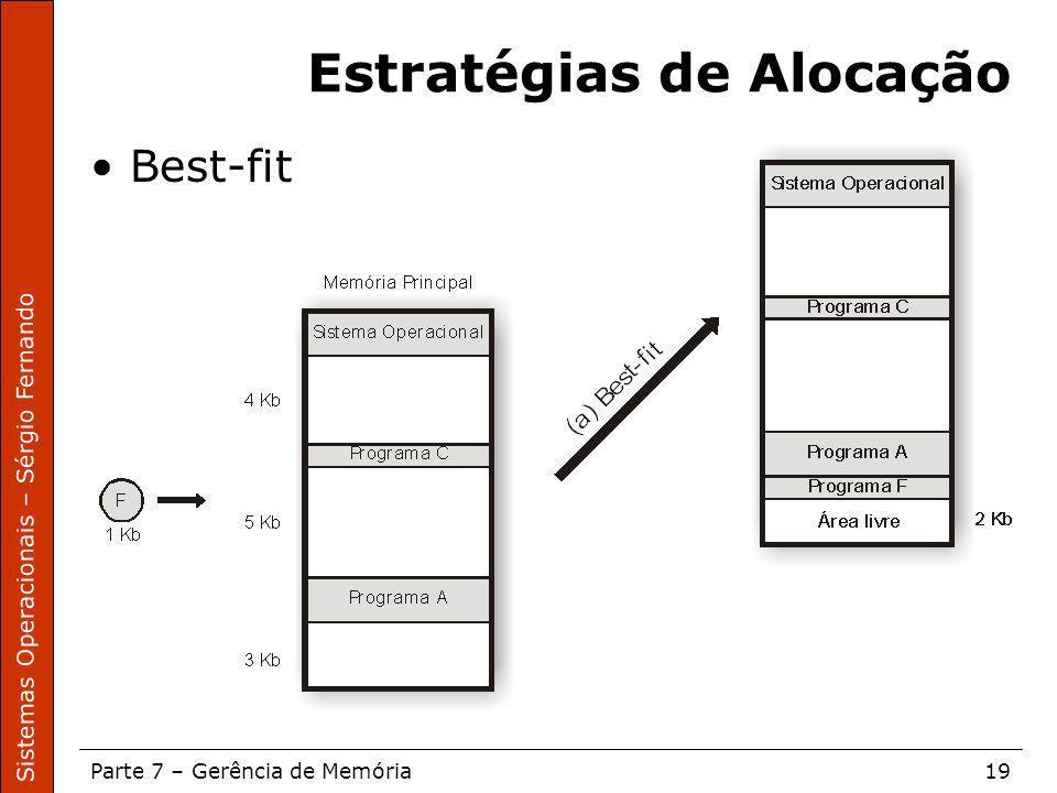 Sistemas Operacionais – Sérgio Fernando Parte 7 – Gerência de Memória19 Estratégias de Alocação Best-fit