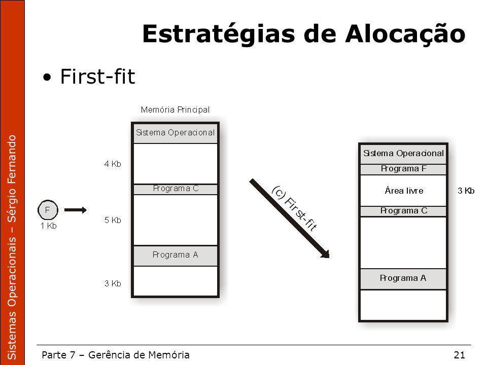 Sistemas Operacionais – Sérgio Fernando Parte 7 – Gerência de Memória21 Estratégias de Alocação First-fit
