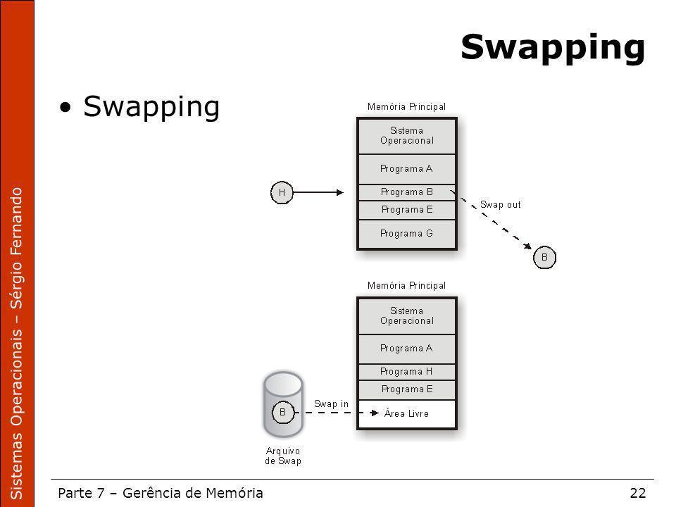 Sistemas Operacionais – Sérgio Fernando Parte 7 – Gerência de Memória22 Swapping