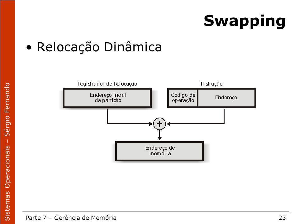 Sistemas Operacionais – Sérgio Fernando Parte 7 – Gerência de Memória23 Swapping Relocação Dinâmica
