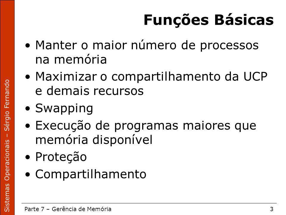 Sistemas Operacionais – Sérgio Fernando Parte 7 – Gerência de Memória3 Funções Básicas Manter o maior número de processos na memória Maximizar o compa