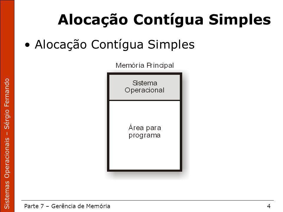 Sistemas Operacionais – Sérgio Fernando Parte 7 – Gerência de Memória4 Alocação Contígua Simples