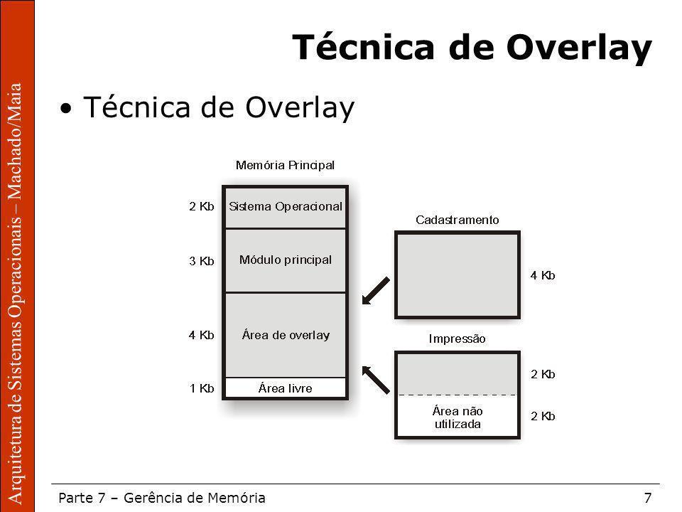 Sistemas Operacionais – Sérgio Fernando Parte 7 – Gerência de Memória7 Arquitetura de Sistemas Operacionais – Machado/Maia Técnica de Overlay