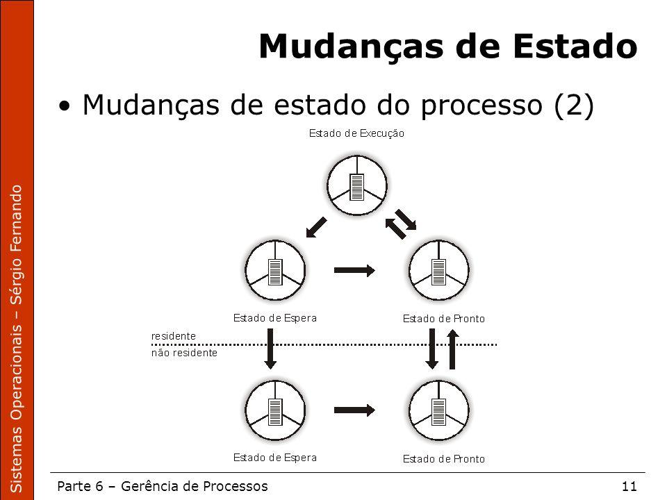 Sistemas Operacionais – Sérgio Fernando Parte 6 – Gerência de Processos11 Mudanças de Estado Mudanças de estado do processo (2)