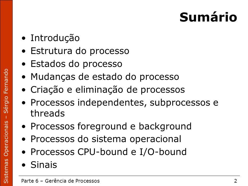 Sistemas Operacionais – Sérgio Fernando Parte 6 – Gerência de Processos2 Sumário Introdução Estrutura do processo Estados do processo Mudanças de esta