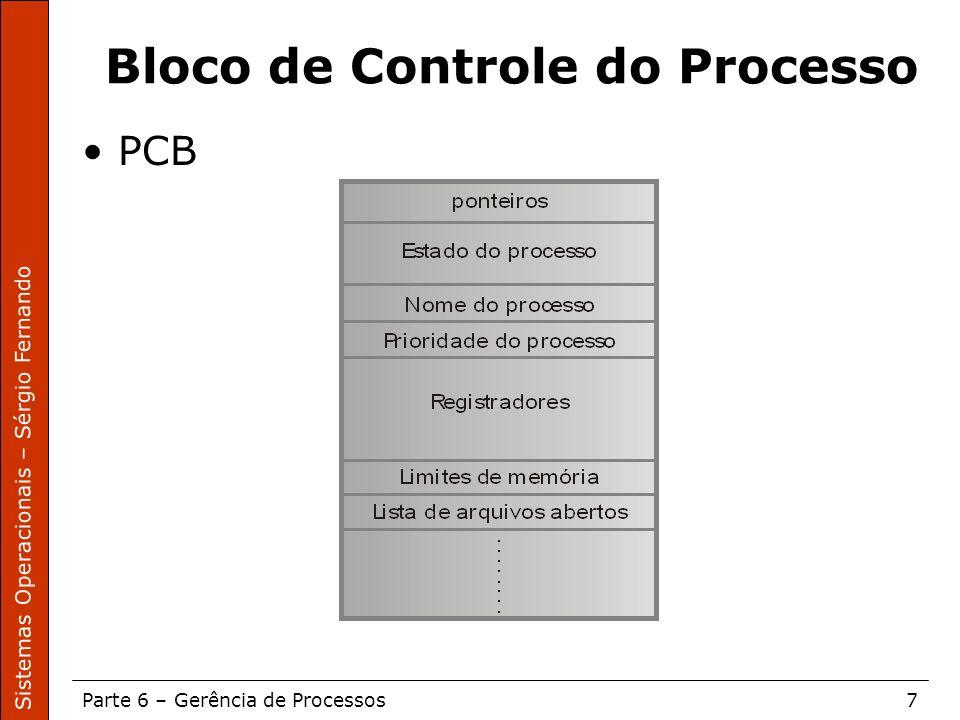 Sistemas Operacionais – Sérgio Fernando Parte 6 – Gerência de Processos7 Bloco de Controle do Processo PCB