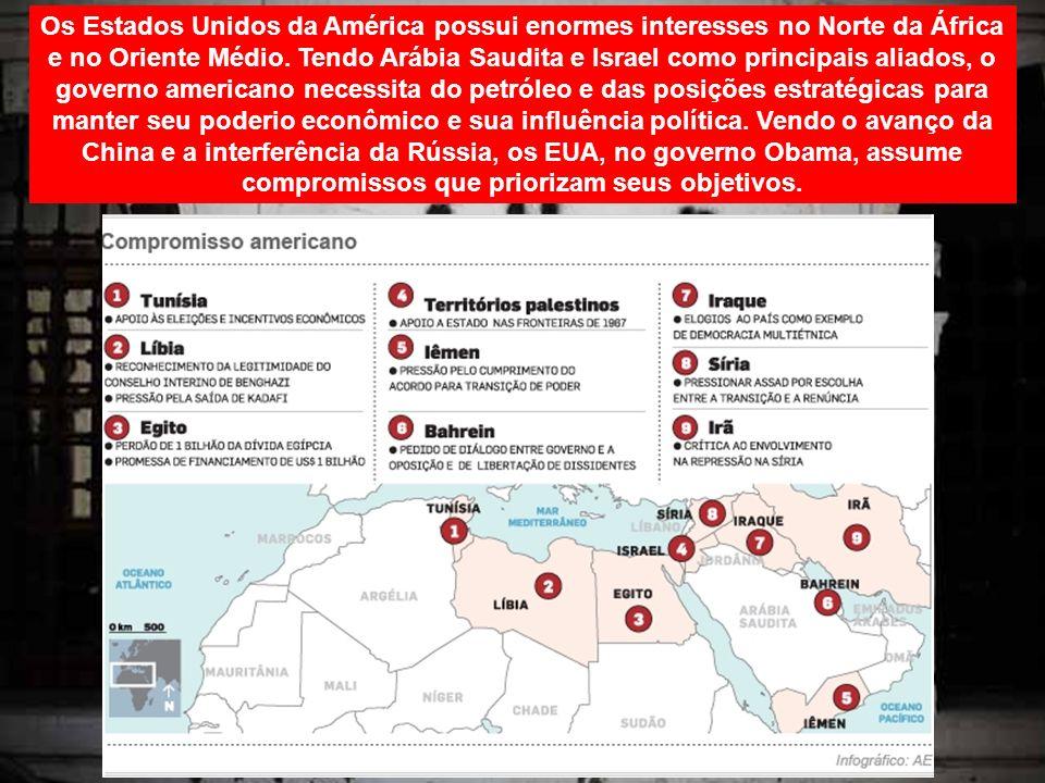 Os Estados Unidos da América possui enormes interesses no Norte da África e no Oriente Médio. Tendo Arábia Saudita e Israel como principais aliados, o