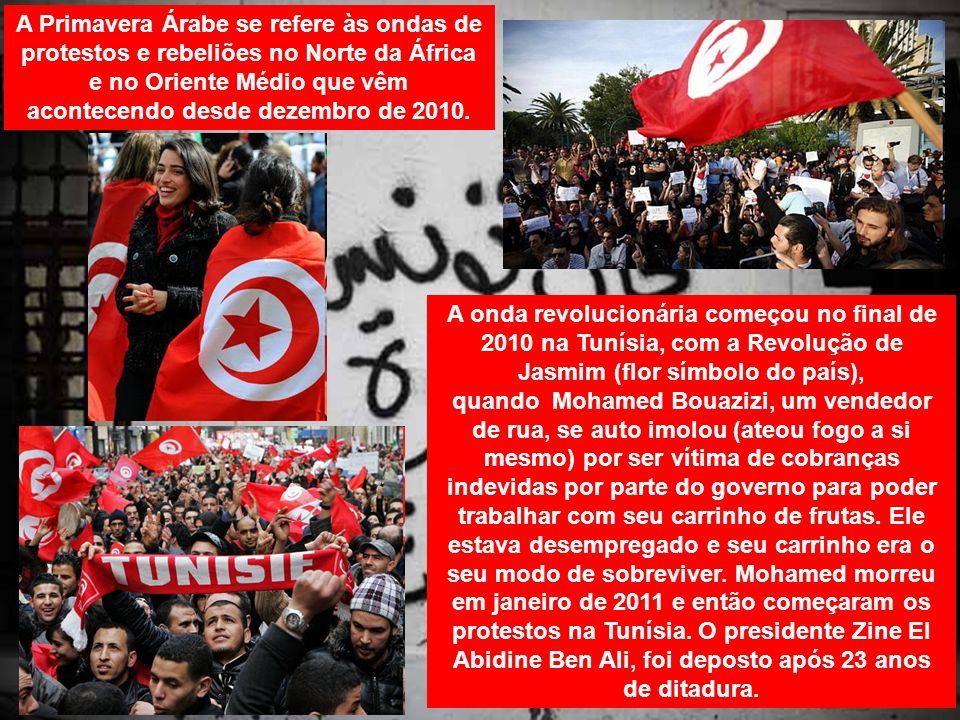 A Primavera Árabe se refere às ondas de protestos e rebeliões no Norte da África e no Oriente Médio que vêm acontecendo desde dezembro de 2010. A onda