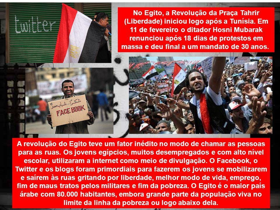No Egito, a Revolução da Praça Tahrir (Liberdade) iniciou logo após a Tunísia. Em 11 de fevereiro o ditador Hosni Mubarak renunciou após 18 dias de pr