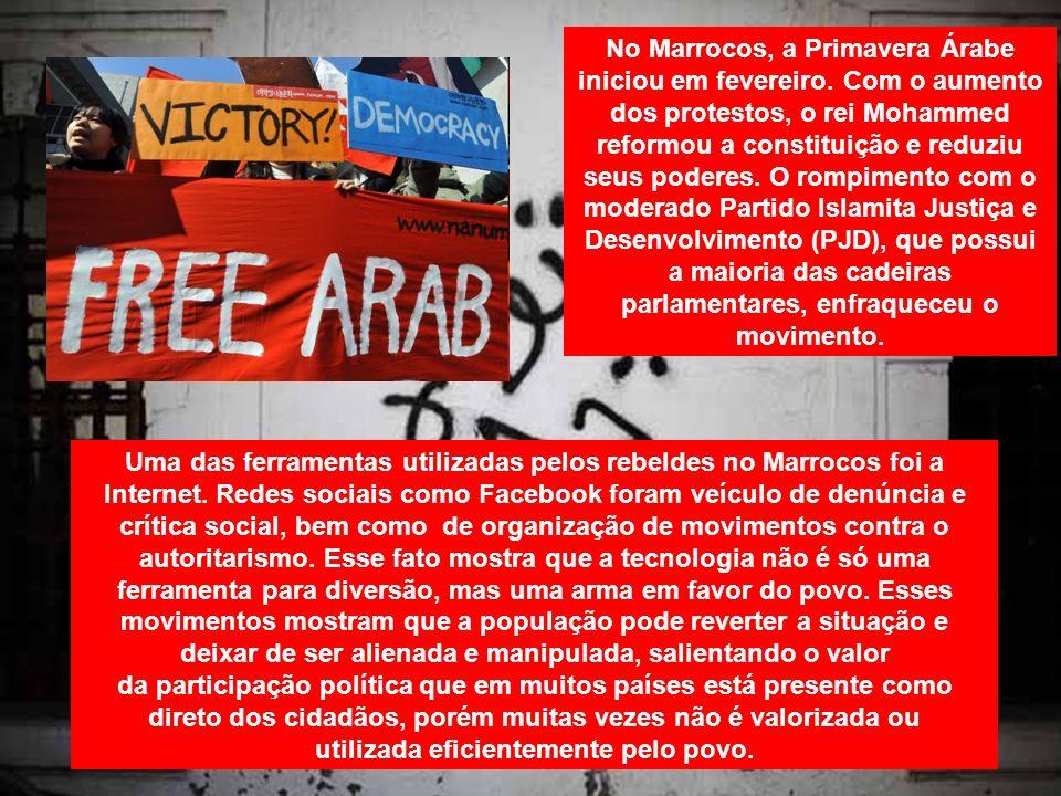 No Marrocos, a Primavera Árabe iniciou em fevereiro. Com o aumento dos protestos, o rei Mohammed reformou a constituição e reduziu seus poderes. O rom