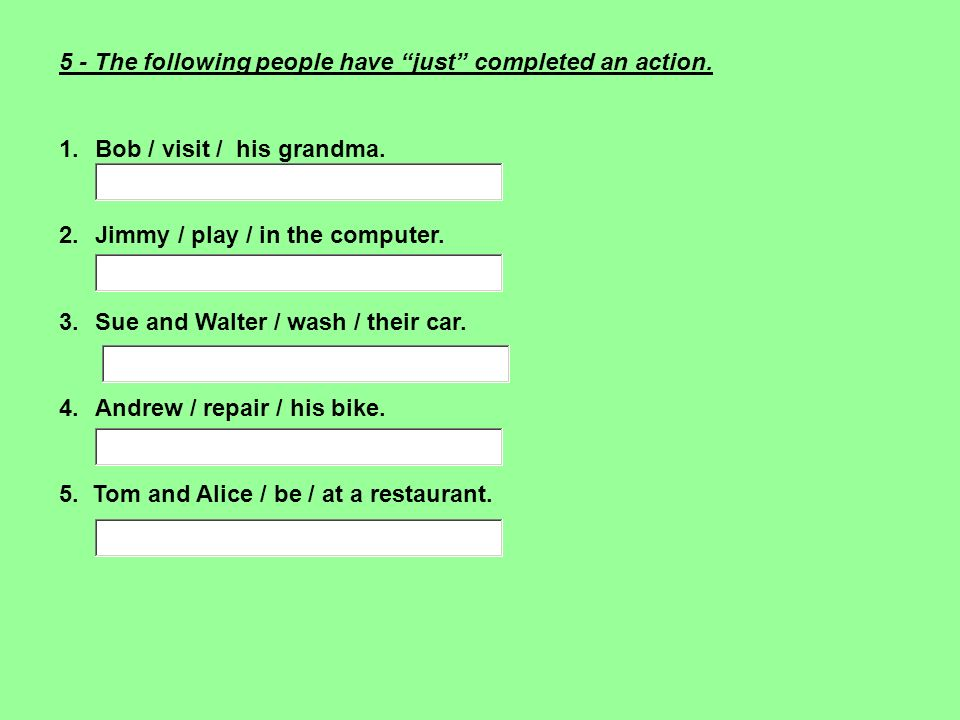 5 - The following people have just completed an action. 1.Bob / visit / his grandma. 2.Jimmy / play / in the computer. 3.Sue and Walter / wash / their