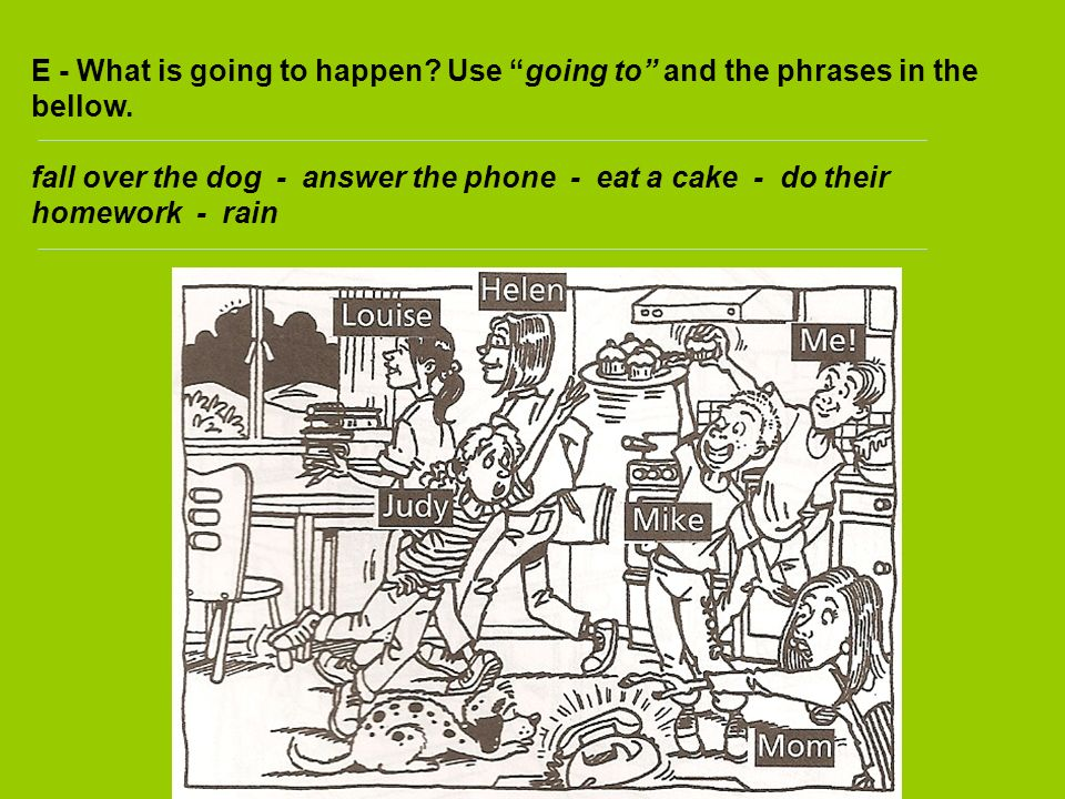 E - What is going to happen? Use going to and the phrases in the bellow. fall over the dog - answer the phone - eat a cake - do their homework - rain