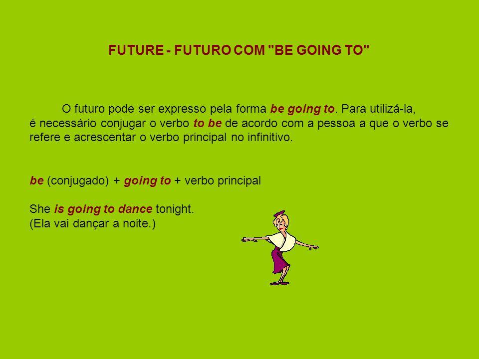 FUTURE - FUTURO COM BE GOING TO O futuro pode ser expresso pela forma be going to.
