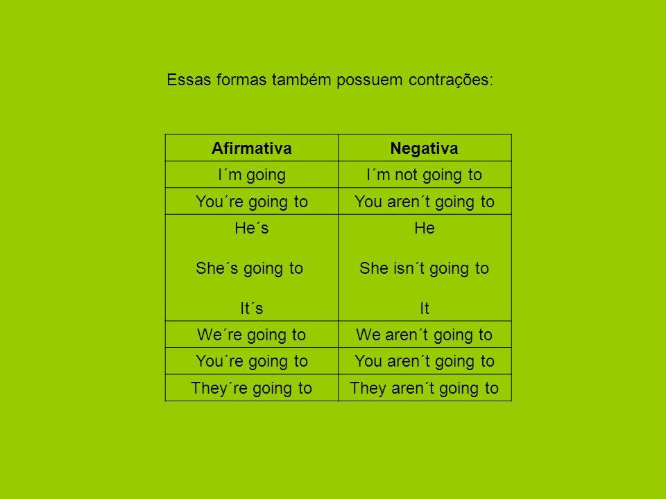 Essas formas também possuem contrações: AfirmativaNegativa I´m goingI´m not going to You´re going toYou aren´t going to He´s She´s going to It´s He She isn´t going to It We´re going toWe aren´t going to You´re going toYou aren´t going to They´re going toThey aren´t going to