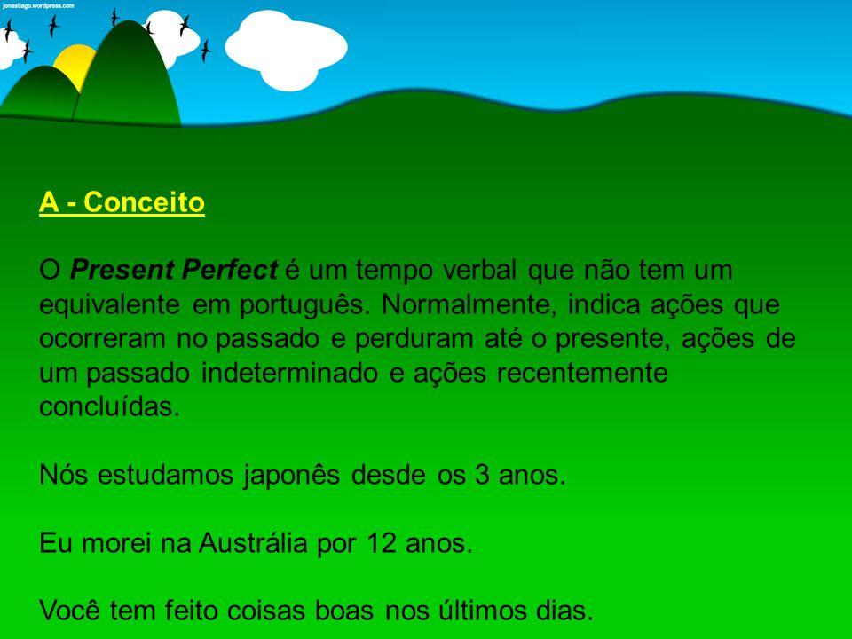B - Estrutura Sintática O Present Perfect é um tempo composto por dois verbos: um auxiliar e outro principal.