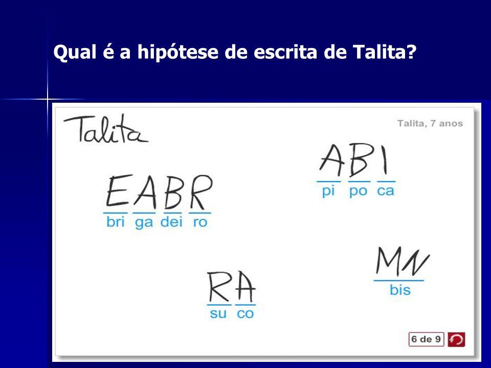 Qual é a hipótese de escrita de Talita?