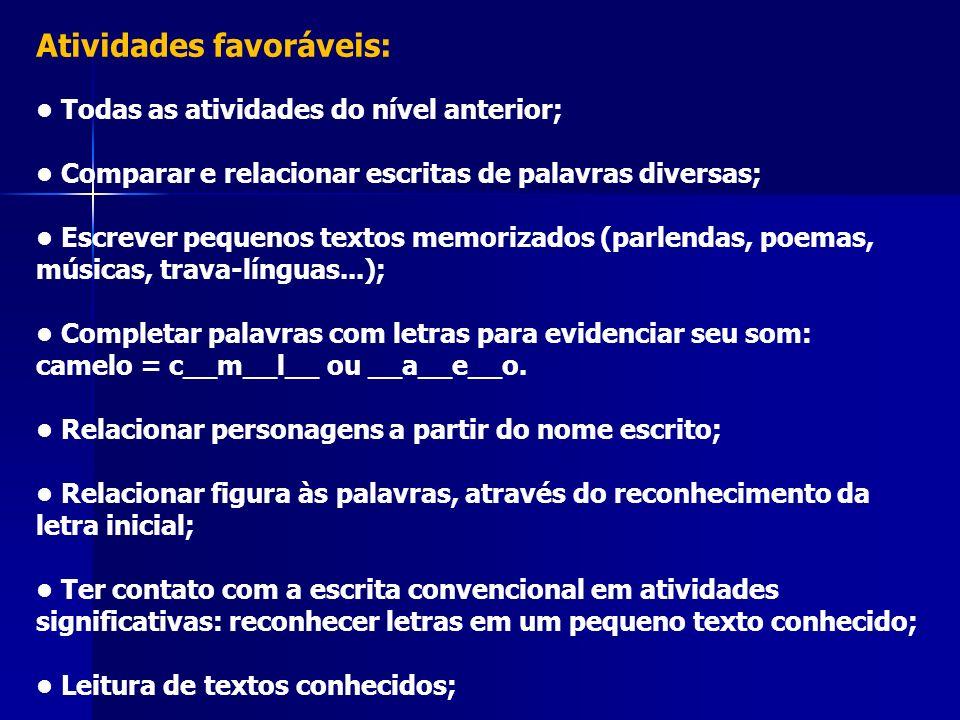 Atividades favoráveis: Todas as atividades do nível anterior; Comparar e relacionar escritas de palavras diversas; Escrever pequenos textos memorizado