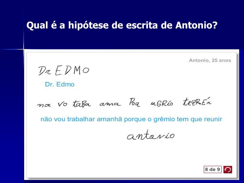 Qual é a hipótese de escrita de Antonio?