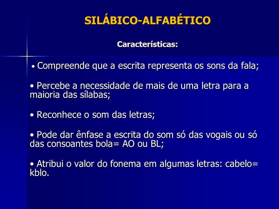 SILÁBICO-ALFABÉTICO Características: Compreende que a escrita representa os sons da fala; Compreende que a escrita representa os sons da fala; Percebe