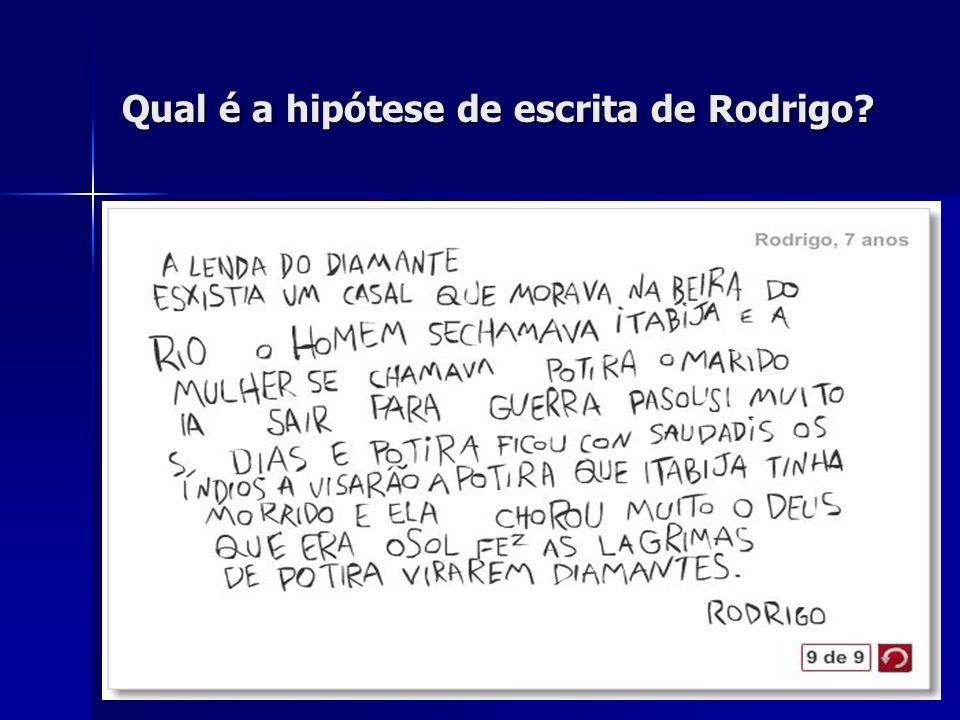 Qual é a hipótese de escrita de Rodrigo?
