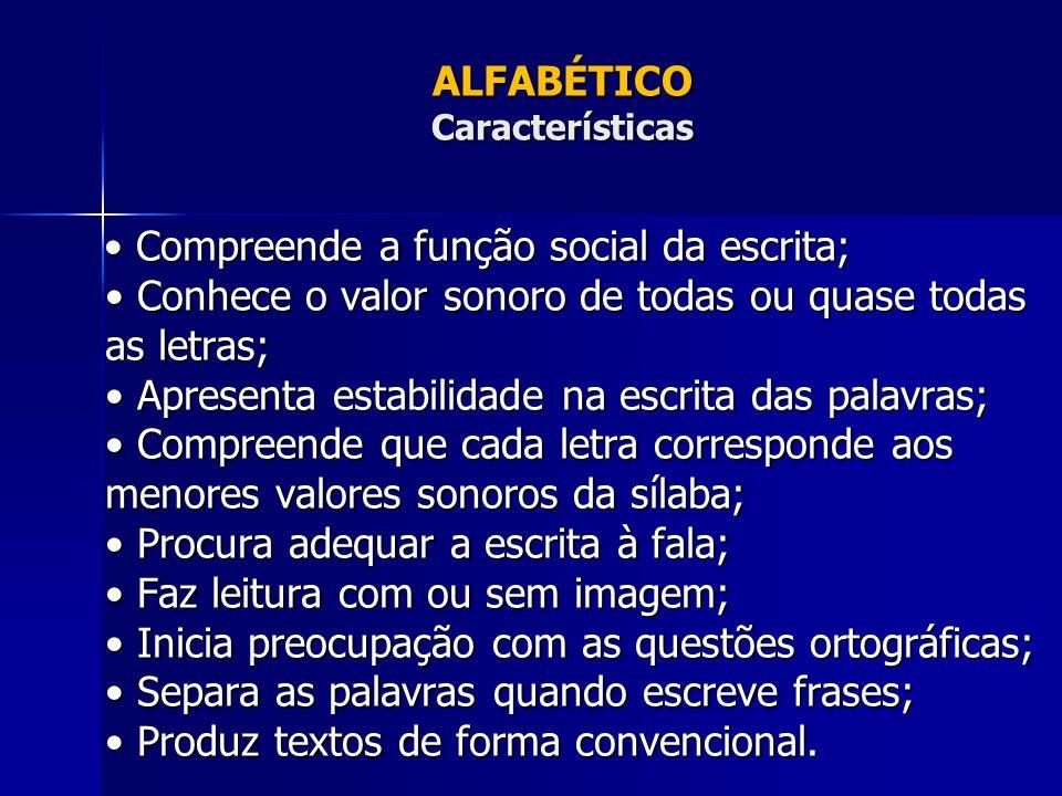 ALFABÉTICO Características Compreende a função social da escrita; Conhece o valor sonoro de todas ou quase todas as letras; Apresenta estabilidade na