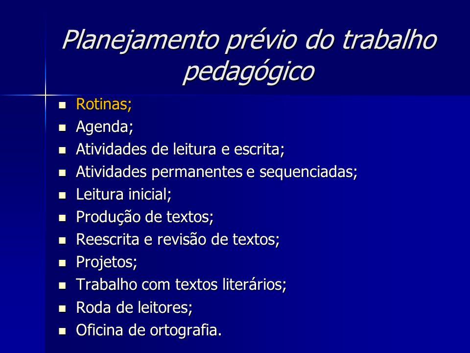Planejamento prévio do trabalho pedagógico Rotinas; Rotinas; Agenda; Agenda; Atividades de leitura e escrita; Atividades de leitura e escrita; Ativida