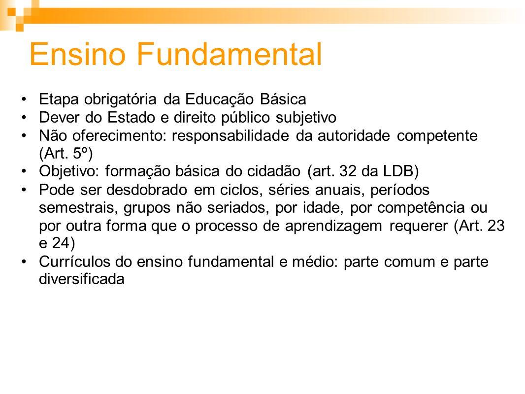 Ensino Fundamental Etapa obrigatória da Educação Básica Dever do Estado e direito público subjetivo Não oferecimento: responsabilidade da autoridade c