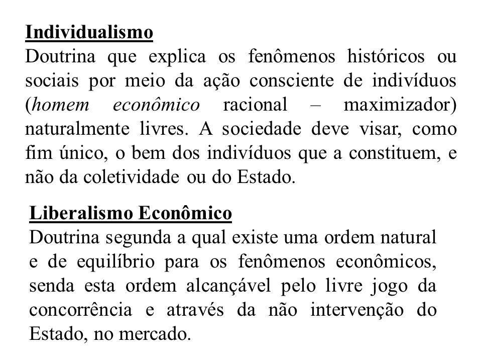 Individualismo Doutrina que explica os fenômenos históricos ou sociais por meio da ação consciente de indivíduos (homem econômico racional – maximizador) naturalmente livres.