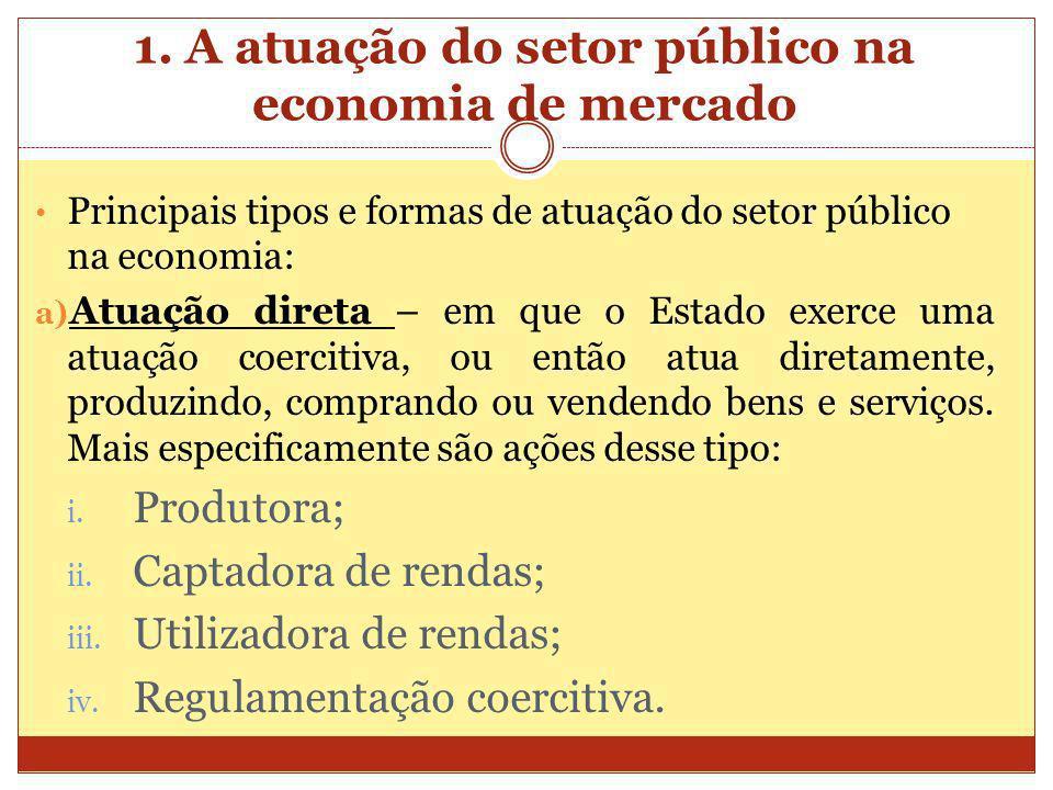 1. A atuação do setor público na economia de mercado Principais tipos e formas de atuação do setor público na economia: a) Atuação direta – em que o E