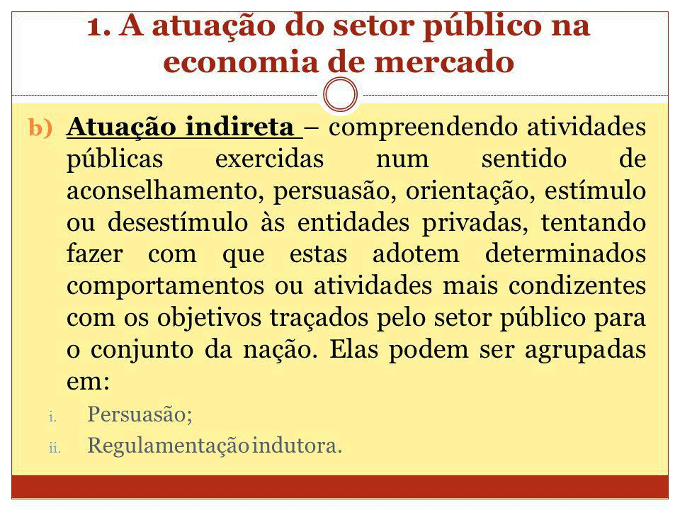 1. A atuação do setor público na economia de mercado b) Atuação indireta – compreendendo atividades públicas exercidas num sentido de aconselhamento,