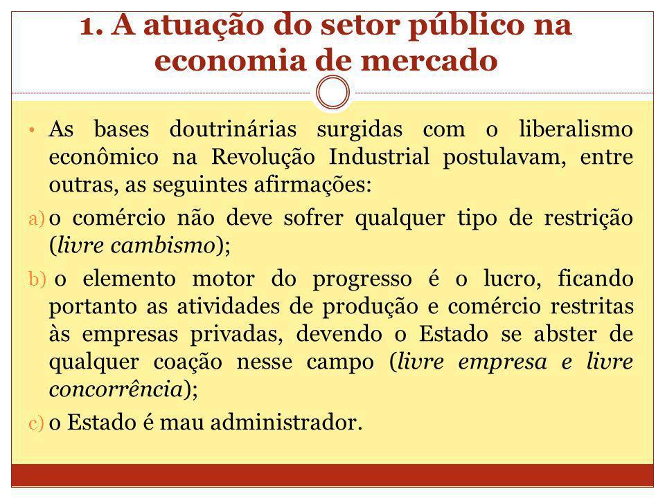1. A atuação do setor público na economia de mercado As bases doutrinárias surgidas com o liberalismo econômico na Revolução Industrial postulavam, en