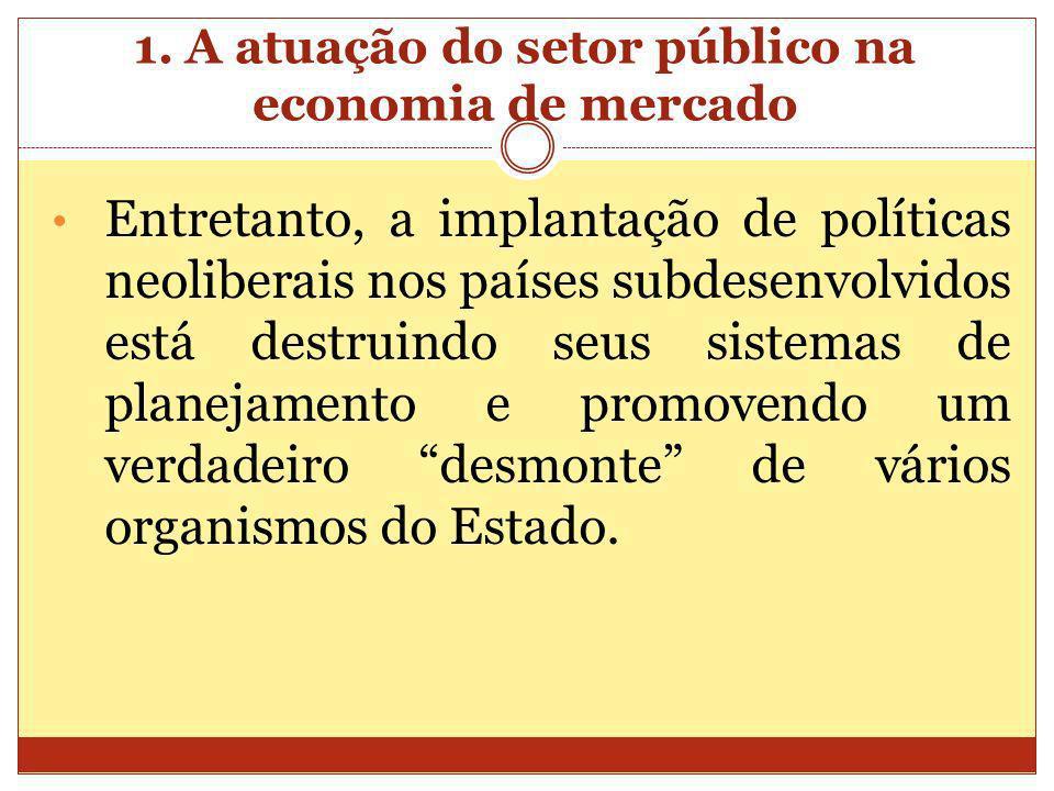1. A atuação do setor público na economia de mercado Entretanto, a implantação de políticas neoliberais nos países subdesenvolvidos está destruindo se